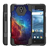 TurtleArmor | Compatible with ZTE Avid Plus Case | ZTE Avid Trio | ZTE ZFive 2 [Dynamic Shell] Hybrid Dual Layer Hard Shell Kickstand Silicone Case - Colorful Nebula Galaxy