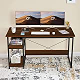 """Large Size Computer Desk- 47"""" x 23.5"""" large desktop that provides plenty of space in your home office. This computer desk is a great option for gaming, studying, writing and more. Writing Desk with Storage Shelves- A large desktop surface with a stor..."""