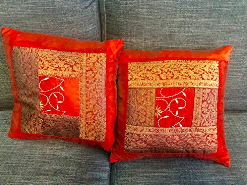 A1SONIC Juego de 2 Fundas de cojín Decorativas de Seda para sofá, diseño étnico Indio