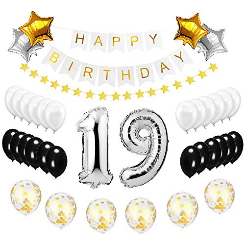 Best Happy to 19th Birthday Balloons Set - High Quality Birthday Theme Decorations for 19 Years Old Party Supplies Silver Black Gold