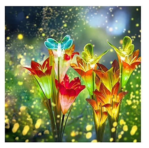 3 piezas Luces Solares de Jardín Lirios Flores Luz Solar, Luz de jardín solar Flor LED luces solares para exteriores lámparas Energía Solar para Jardín, Patio, Decoración
