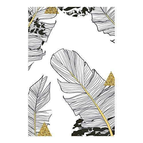N / A Schwarz-Weiß-Pflanze Grünes Blatt Leinwand Malerei Golden Art Printing Poster Bild Einfaches Schlafzimmer Wohnzimmer Rahmenlos 21X42 cm