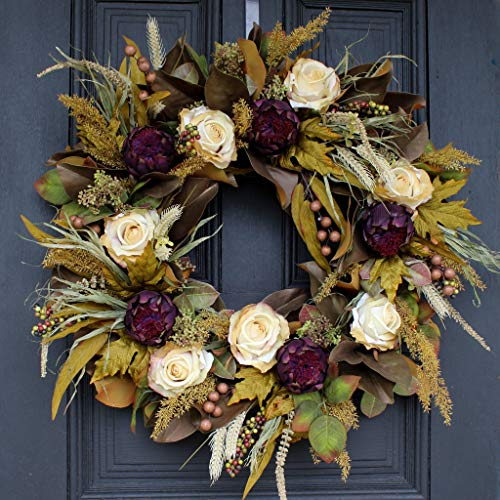 Darby Creek Trading Autumn Cashmere - Vanilla Rose, Blooming Artichoke & Fall Magnolia Leaf Front Door Wreath
