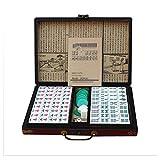 TUI Mahjong Chino fijó 144 Azulejos, portátiles mah-Jong, Juegos de Mesa Tradicionales Chinos de Viaje al Aire Libre, Caja de Embalaje de Madera, Apto para Cuatro Personas