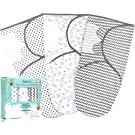 Baby Swaddle Blanket Wrap (3 Pack) for Newborn Boy and Girl (0-3 Months/Small/Medium) – 100% Cotton (Breathable All Seasons) – Grey Unisex Design – Infant Sleep Sack Gift Set