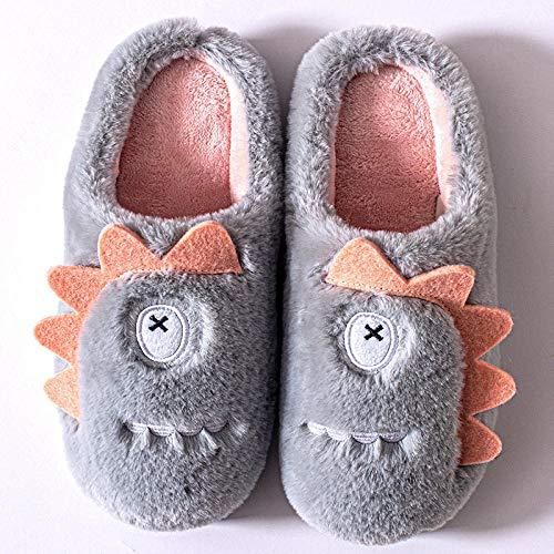 Nwarmsouth Zapatos de casa con Suela antides,Pareja de Dibujos Animados Zapatos de algodón, Pantuflas cálidas Antideslizantes-Gris Claro_37-38,Verano e Invierno/Pantuflas cómodas