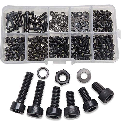 300 Piezas Tornillos Hexagonales M3, Tuercas Surtidas, Arandelas Con Caja de Plástico, Herramientas de Hardware, Piezas Mecánicas, para Maquinaria de Construcción, Negro