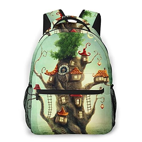 SXCVD Mochila informal,Reloj Casa del árbol mágico de cuento de hadas en la pradera,Mochila para portátil de negocios,Mochila de viaje de senderismo para hombres,mujeres,adolescentes