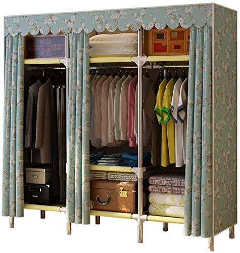 wardrobe Simple fabric cabinet - Simple modern cloth, Steel pipe reinforcement/thickening storage cabinet, Double, Quick and Easy to Assemble,B_66.9inx 51.2inx 17.7in FANJIANI (Color : A)