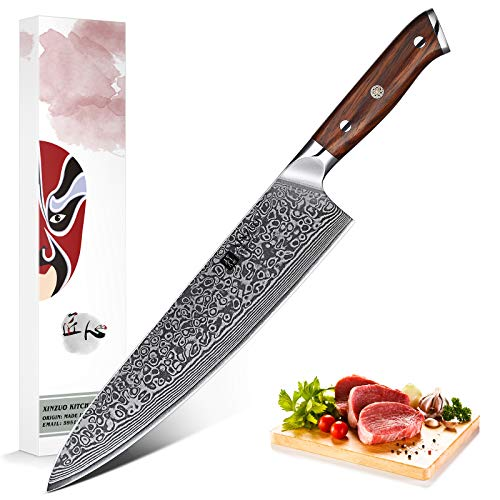 XINZUO 25.5cm Cuchillo chef Alto carbono Damasco Acero Profesional Japon Cuchillo cocinero Gyuto VG10 Acero con Ergonómico Rosewood Mango - Yu Serie