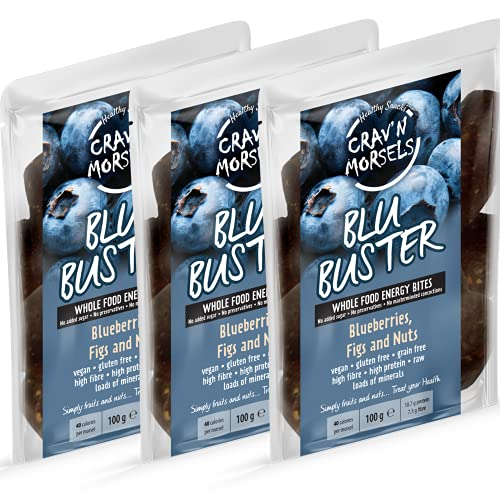 Crav'n Morsels BLU BUSTER Energy Bites | 3 x 100g resealable bags | Blueberries, Figs & Nuts | Healthy Snack | 11% Protein | 100% Natural, No Palm Oil, No Bulking Agents