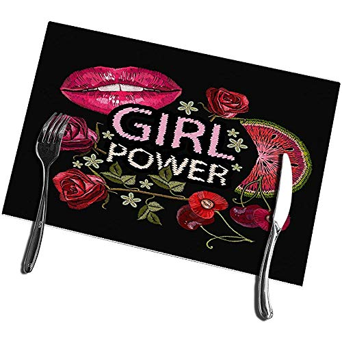 sunnee-shop placemats voor eettafel, 4-delige set, Slogan Girl Power Fashion textiel dames lippen rozen