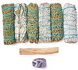 Sage Variety Pack - White Sage, Blue Sage, Yerba Santa, Cedar, Juniper & Palo Santo Smudge Sticks + Amethyst   Smudging Kit (Variety Sages)