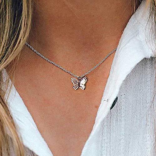 MIKUAX collarVintage Colgante de múltiples Capas Collar de Mariposa para Mujeres Mariposas Luna Estrella Encanto Gargantilla Collares Boho Regalo de joyería de Moda