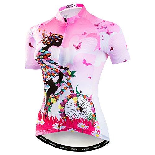 Weimostar Mountainbike-Jersey-Shirts der Radfahren Jersey-Frauen Kurze Hülse Straße Fahrrad-Kleidung Pro-Team MTB übersteigt Sommer-Kleidung Fahrrad Rosa Größe XL