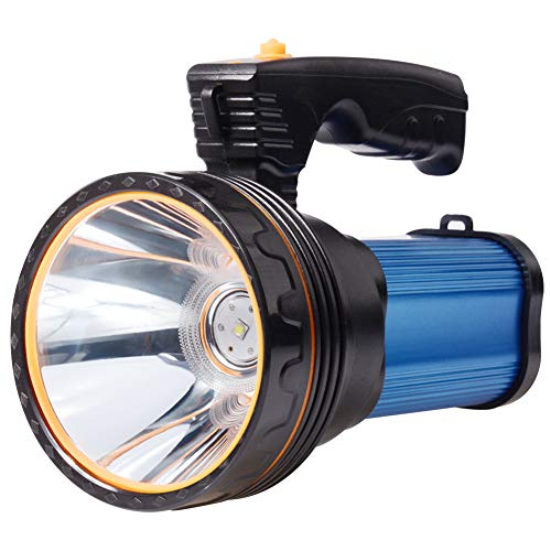 Eornmor Outdoor Rechargeable Flashlights High Lumens Spot Light 6000 Lumens High Powered Led Rechargeable Spotlight Handheld Searchlight Torch, 9000mah 35W (Blue)