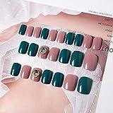 Lady 24pcs / set Estilo simple coreano Jump Color Cubierta completa Uñas postizas cortas con decoración Diamante Uñas postizas T