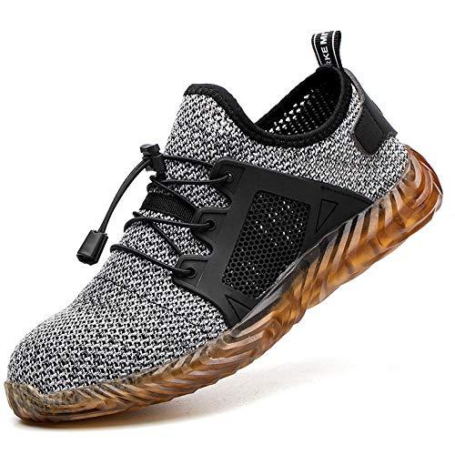 Trabajo Puntera Acero Botas Seguridad,Calzado seguro laboral anti-rotura y transpirable para hombres calzado trabajo anti-perforaciones calzado seguridad para obra-Cordones elásticos grises_45