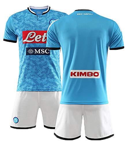 PUPPYY Napoli10# 17# 24# 99# (Home & Away) Herrenfußball-Hemd Personalisierte Fußball-Trikots-Kits Jersey-Kits Kind/Erwachsene, Fußball-Geschenk Blue-L