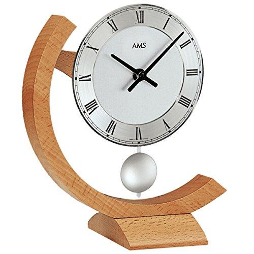AMS Quarzpendel-Tischuhr, Holz, Mehrfarbig, 30 x 24 x 12 cm