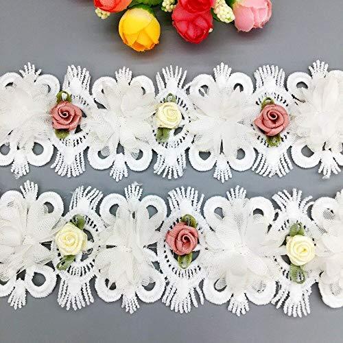NuNuNaNa - 50 cintas de gasa de algodón africano 3D colorul rosa encaje encaje encaje encaje encaje de tela para vestido de boda ropa costura manualidades