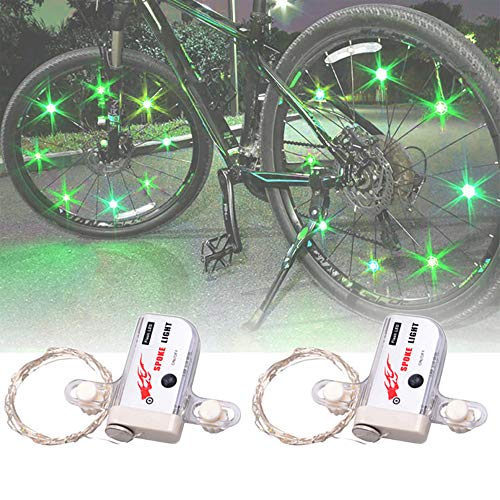 N/V Led Bike Wheel Lights, 2 Pcs Lights for Bikes Riding at Night, Spoke Llights for Bike Wheels Waterproof Cycling Bicycle Light Decoration Ultra Bright from All Angles Tire Strip Light (Green)