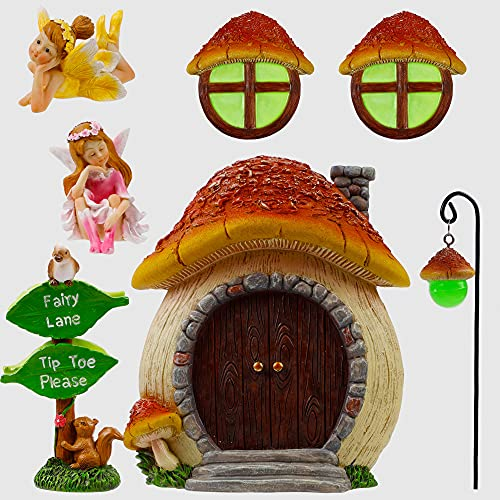 Juegoal Mushroom Fairy Gnome Home Window and Door with 2 Fairies for Trees Decoration, Miniature Fairies Sleeping Sign and Post Lamp Glow in Dark, Yard Art Garden Sculpture Lawn Ornament
