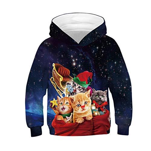 JLDJWSJD 2020 Weihnachtskinder 3D Hoodies reizende Bunte Galaxy Cat Star Universe Printed Junge Mädchen mit Kapuze Picture Show TZ-213 5T