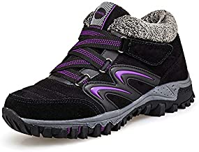 gracosy Women's Hiking Shoes, High Top Sneaker Winter Warm Hook Loop Snow Shoes Fur Lining Suede Ankle Bootie Black+Purple 6 M US