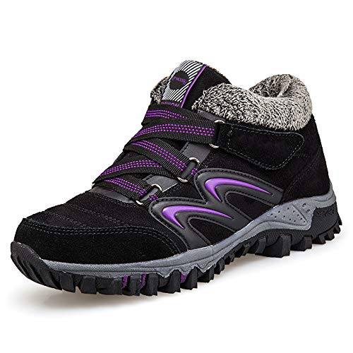 gracosy Women's Hiking Shoes, High Top Sneaker Winter Warm Hook Loop Snow Shoes Fur Lining Suede Ankle Bootie Black+Purple 8 M US