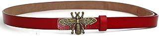 Women's 0.7″Thin Vintage Copper Bee Buckle Leather Belts Casual Dress Belts