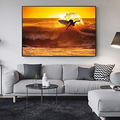 mlpnko DIY Pintar por números Surf Lienzo Pintado a Mano Pintura Arte decoración del hogar regaloPintura sin marco50x40cm(20X16inch)