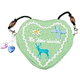 Edelweiss - Bolsa para traje regional tirolés con forma de corazón y cordón largo desmontable, color verde