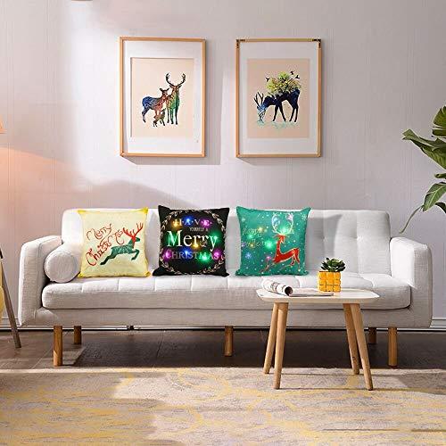 3PCS élégant style différent LED de Noël Taie d'oreiller, 17 pouces Lin matériaux avec un design unique RGB Lumière Convient for canapé, lit, chaise (Oreiller de base non inclus)