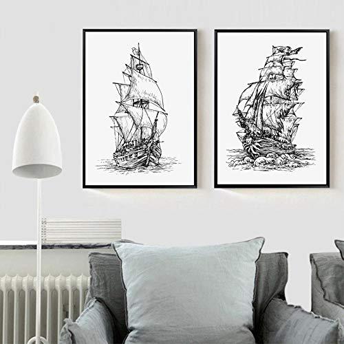VVSUN Cartel de Pintura de Lienzo Retro Barco Pirata Arte Impreso Cuadros de Pared Sala de Estar decoración del hogar 40X60cm 16x24inchx2 sin Marco