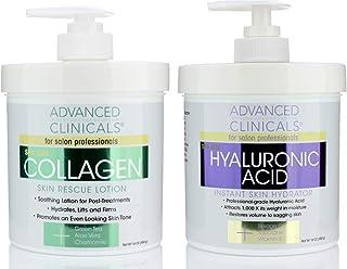 Advanced Clinicals Collagen Cream & Hyaluronic Acid Cream Set. Collagen Rescue Lotion Restores Sagging Skin & Dry Skin. Hy...