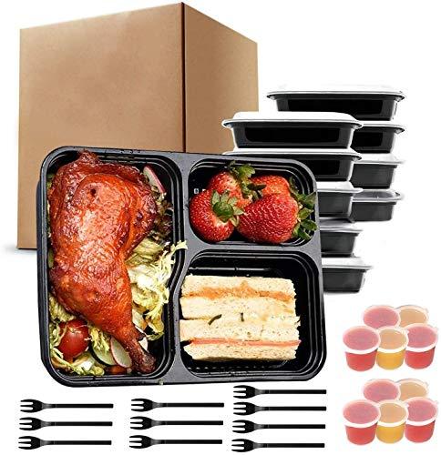 JUYILSU 3Fach Meal Prep Container mit 10er,Essensbox, Lunchbox,Spülmaschine, Mikrowelle, Gefrierschrank Safe. BPA-frei Frishchalteboxen