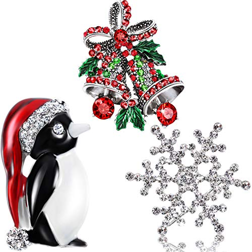 Rhinestone Crystal Brooch, Elegant Fashion Brooch Pins for Party Celebration, 3 Pieces (Penguin, Snowflake and Bell)