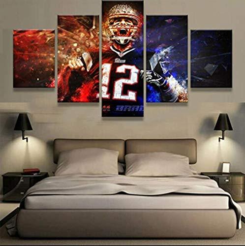 Stampa su Tela 5 Pezzi Wall Art Pittura Moderna Immagine Soggiorno Camera da Letto Divano TV Sfondo Palestra Decorazione Domestica XXL Tom Brady England Patriots