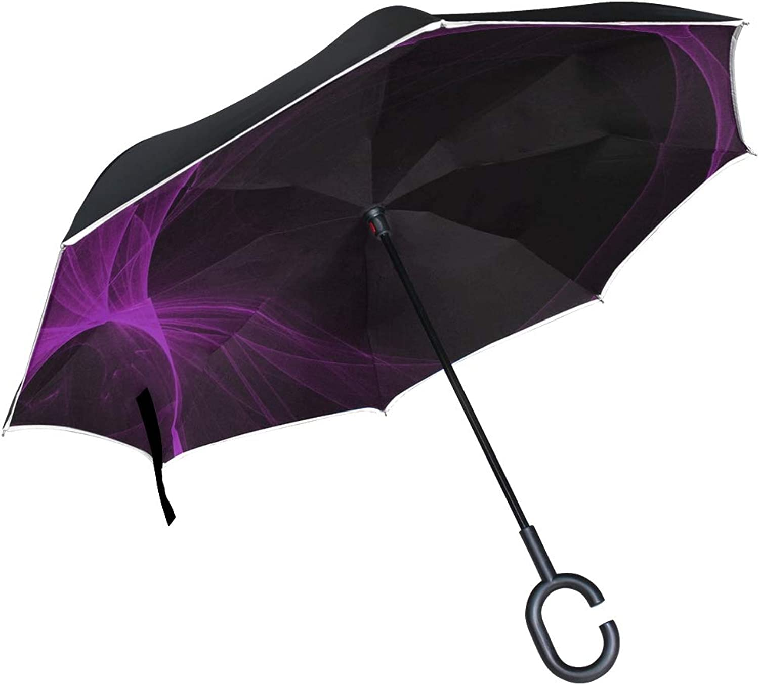 Double Layer Ingreened Abstract Decorative Light Glow Page Umbrellas Reverse Folding Umbrella Windproof Uv Predection Big Straight Umbrella for Car Rain Outdoor with CShaped Handle