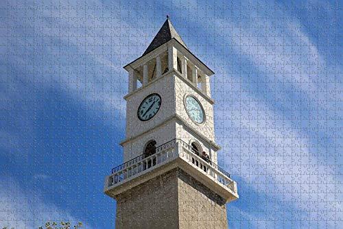 Rompecabezas para Adultos Albania Torre del Reloj Tirana Puzzle 1000 Piezas Recuerdo de Viaje de Madera