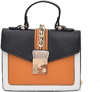 New Exquisite Beautiful Trendy Casual Fashion Handbag Shoulder Slung Small Leather Handbag,Delicate Lining Boutique (Color : Orange)