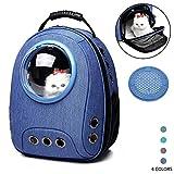 ZWW Rucksäcke Für Hunde, Erweiterbar Tragbar Raumkapsel Träger Tasche Atmungsaktive Tasche Aus Leinwand Für Ausflüge,Darkblue