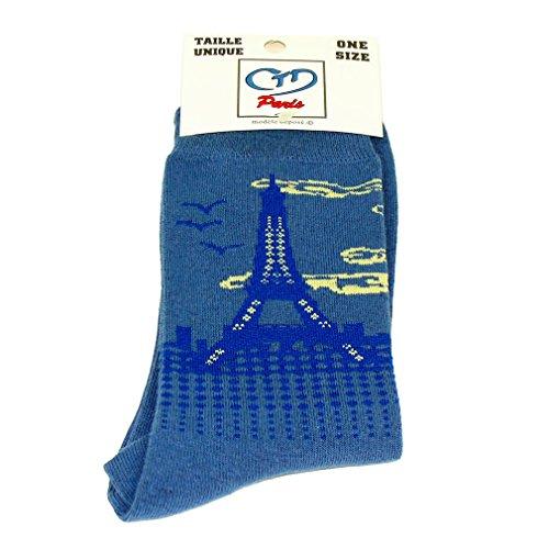 Souvenirs de France - Chaussettes Homme Tour Eiffel - Bleu