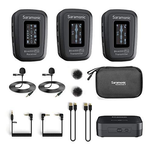 Saramonic Blink500 Pro B2 Mini microfono stereo wireless a doppio canale con custodia di ricarica, display OLED e uscita cuffie da 3,5 mm per DSLR, mirrorless e videocamere, smartphone, computer