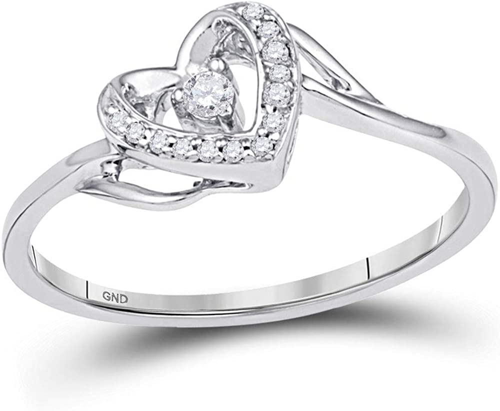 Jewels By Lux 10K Japan Maker New White Gold Promise Diamond Heart Round Womens Genuine Free Shipping