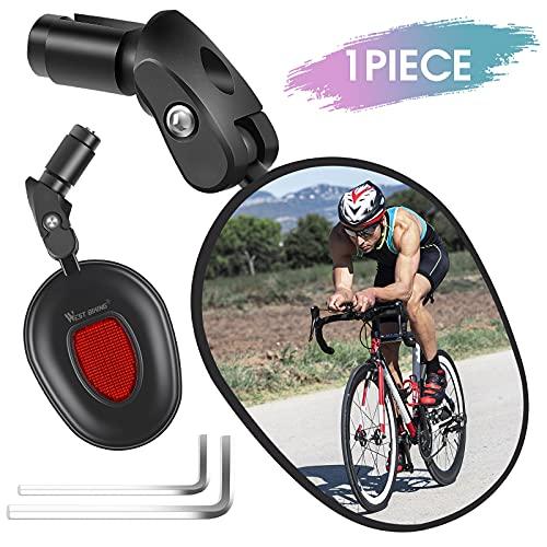 Fahrradspiegel,360°-Drehung Lenkerendenspiegel,Fahrradlenker Verstellbarer Rückspiegel,Super Klar Große Aussicht Fahrrad-Seitenspiegel,Links-Rechts Universal Reflektor Spiegel für Ebike,E-Bike,Rennrad