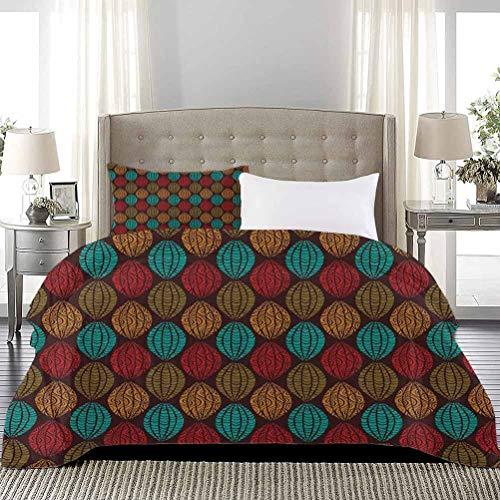 UNOSEKS LANZON Juego de ropa de cama de arte nativo con detalles abstractos antiguos motivos de la cultura antigua funda de edredón de verano que protege tu edredón multicolor, tamaño completo