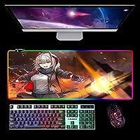 マウスパッドArknightsAnime RGB Led Gaming Mouse Pad XL Glowingカラフルなマウスパッド(USBケーブル付き)キーボードマウスマットB900x400mm