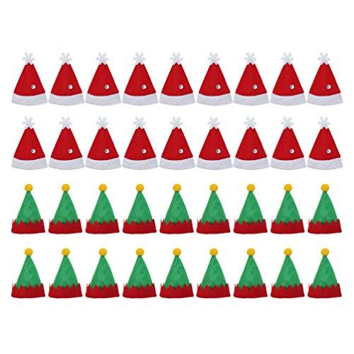 Amosfun - Gorro de Navidad, 36 unidades, para cubertería de Navidad, gorro de taza, botellas, sombrero de caramelos de Navidad, sombreros de Navidad, decoración de Navidad